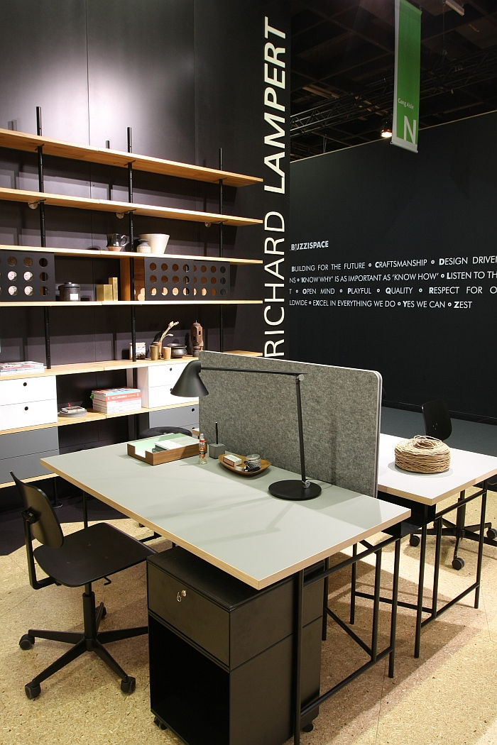 Eiermann tables as workstation with the new acoustic element by Richard Lampert, as seen at Orgatec Cologne 2016