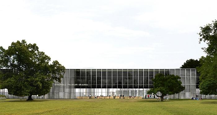 Bauhaus Museum Dessau , view from Stadtpark (Image © Gonzalez Hinz Zabala courtesy Stiftung Bauhaus Dessau)