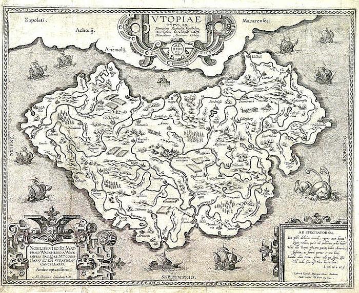 Abraham Ortelius' map of Utopia (ca 1595) (Source https://commons.wikimedia.org/)