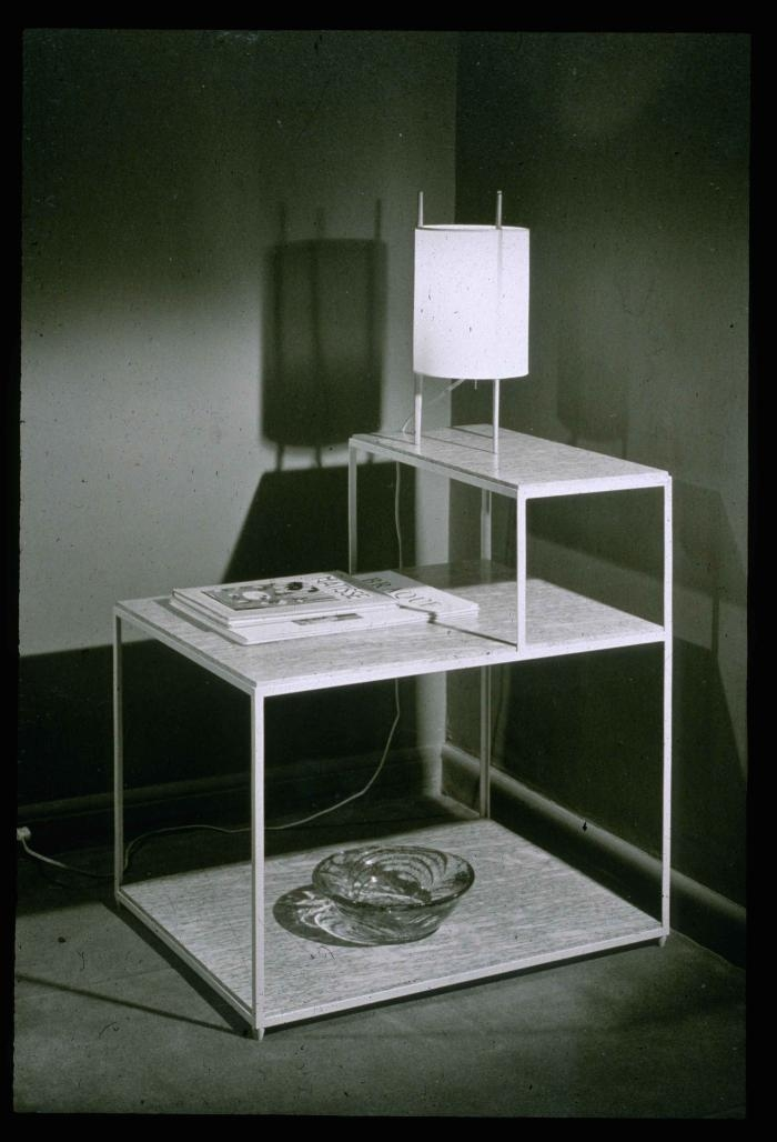 Edward J Wormley. Tiered End Table with Lamp . 1945. Edward J Wormley papers; Professional (KA0048.02). New School Archives and Special Collections Digital Archive