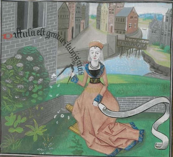 "Image from ""The Twelve Ladies of Rhetoric"" by Jean Robertet, ca 1465, depicting a turf topped brick bench. (Image Bayerische Staatsbibliothek via www.digitale-sammlungen.de)"