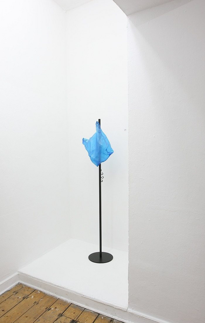 A blue plastic bag, presented on Hook up by Thomas Shnur