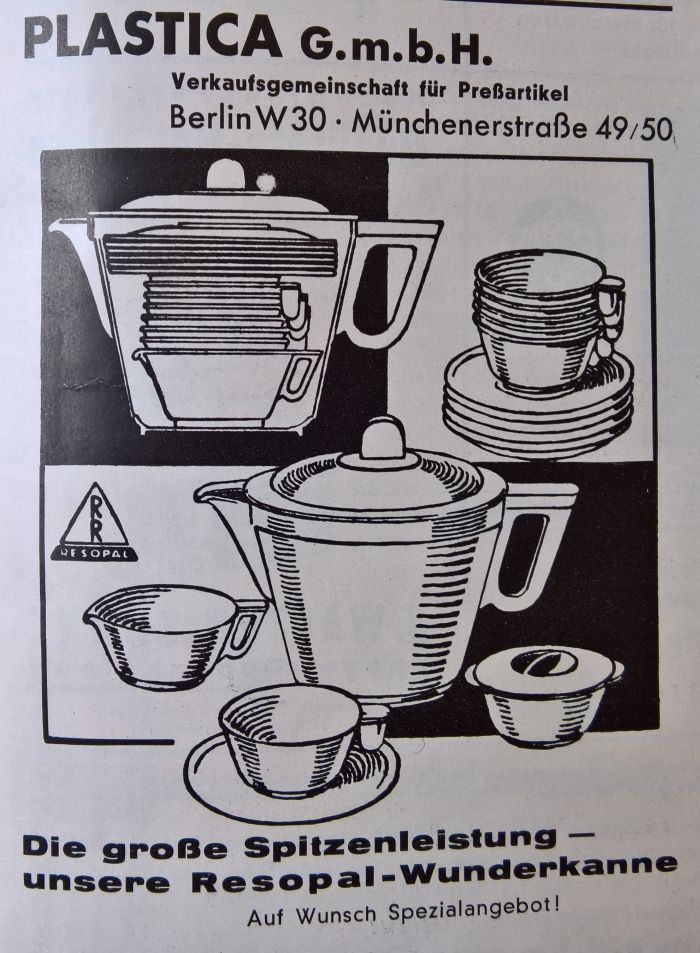 Advert for the Resopal Wunderkanne by Christian Dell, Die Schaulade, Volume 1 1934 (Plastica was a Berlin based sales cooperative for plastic goods)