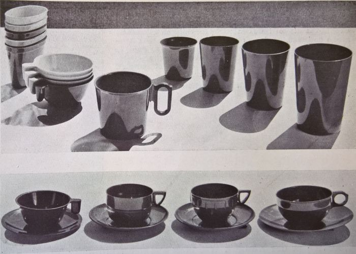 A selection of Resopal cups and beakers by Christian Dell, as seen in Die Schaulade, Volume 1 1934)