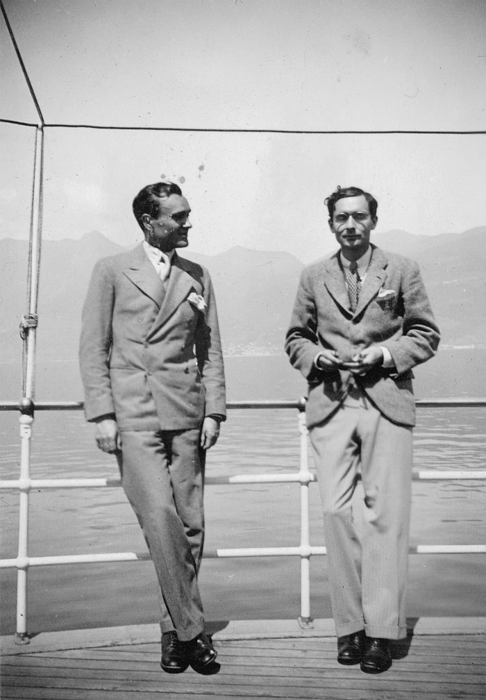 Philip Johnson and Alfred Barr, Lake Maggiore, Switzerland, April 1933. (Photo © The Museum of Modern Art)