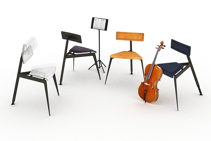 A Quartet of Musicians' Chairs by David A. Brothers (Rendering © David A. Brothers)