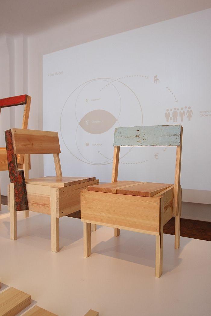 Wood from Lampedusa refugee boats, and its integration into furniture, as seen at CUCULA – Refugees Company for Crafts and Design at the Werkbundarchiv – Museum der Dinge Berlin