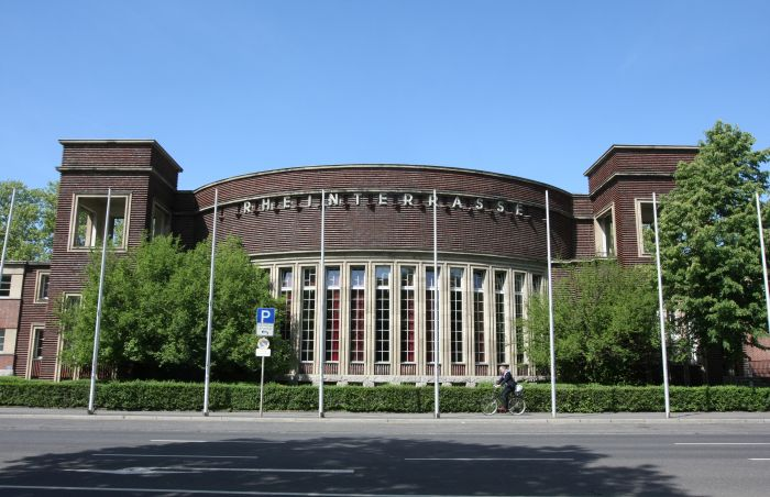 Cycling at a pace which allows one to enjoy Dusseldorf's architecture, such as the 1926 Rheinterrasse