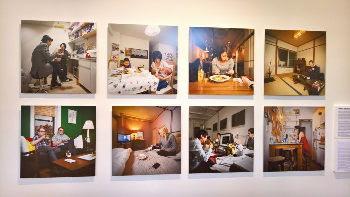Dinner in NY & Dinner in Tokyo in Miho Aikawa, a photo-documentaton of contemporary eating practices, as seen at Food Revolution 5.0. Design for Tomorrow's Society, Museum für Kunst und Gewerbe Hamburg