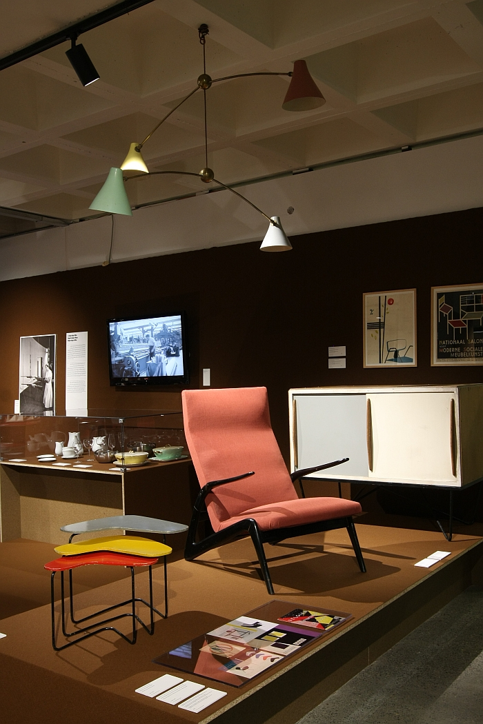 Armchair S 6L by Alfred Hendrickx for Belform & various objects produced by Tubax, as seen at Panorama. A History of Modern Design in Belgium, ADAM Brussels