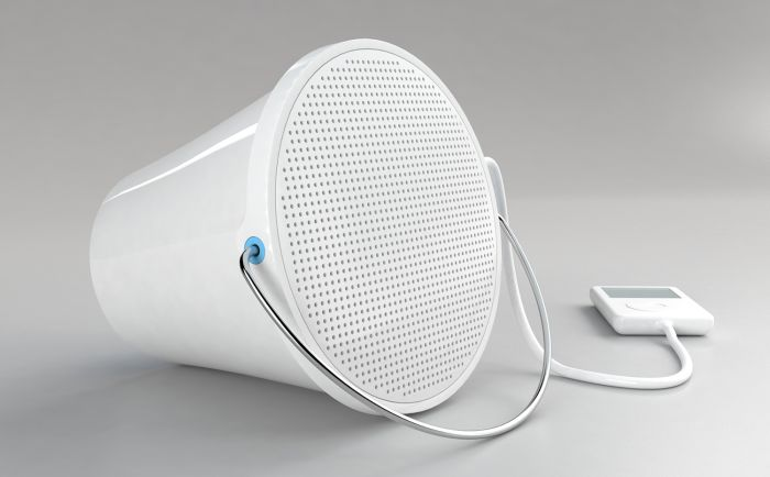 """Sound Bucket"" mobile speaker by Gilli Kuchik & Ran Amitai aka Bakery Design (photo courtesy Design Museum Holon)"