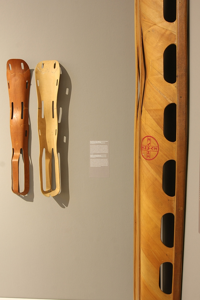 1940s moulded plywood leg splints by Charles and Ray Eames through Evans, as seen at Charles & Ray Eames. The Power of Design, Vitra Design Museum