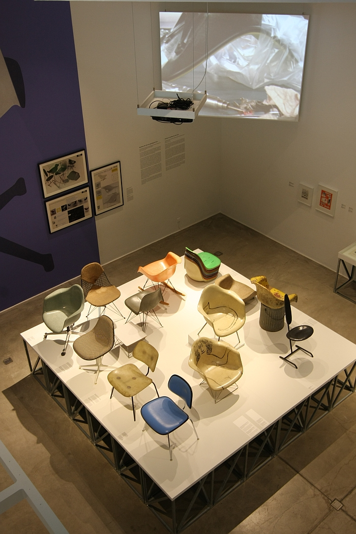A collection of fibre glass chairs - and a video explaining the production,  as seen