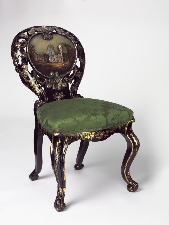 A Chair made by Jennens and Bettridge, Birmingham ca. 1850. Base wood, backrest Papier-mâché (Photo © Victoria and Albert Museum, London)