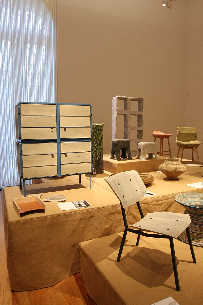 New Hybrids Newspaperwood chair by Mieke Meijer and Newspaperwood Framed Cabinet by Breg Hanssenl, as seen at Pure Gold. Upcycled! Upgraded!, Museum für Kunst Gewerbe Hamburg