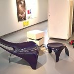 Fibreglass lounge chair and stool by Werner Müller for H.P. Spengler, as seen at Ideal living, Museum für Gestaltung Zürich