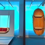On the right the inspiration, a 1950s folding boat by Marcel Bardiaux. on the right the result, Swing boat from the Objets Nomades Collection for Loui Vuitton