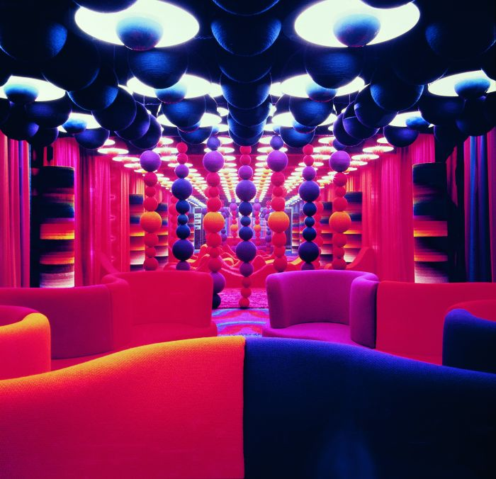 "The MIRA-X stand at the ""Heimtextil"" trade fair, 1971 in Frankfurt a. M., showing the collection from Verner Panton. (Photo © Panton Design, courtesy Textilmuseum St.Gallen)"