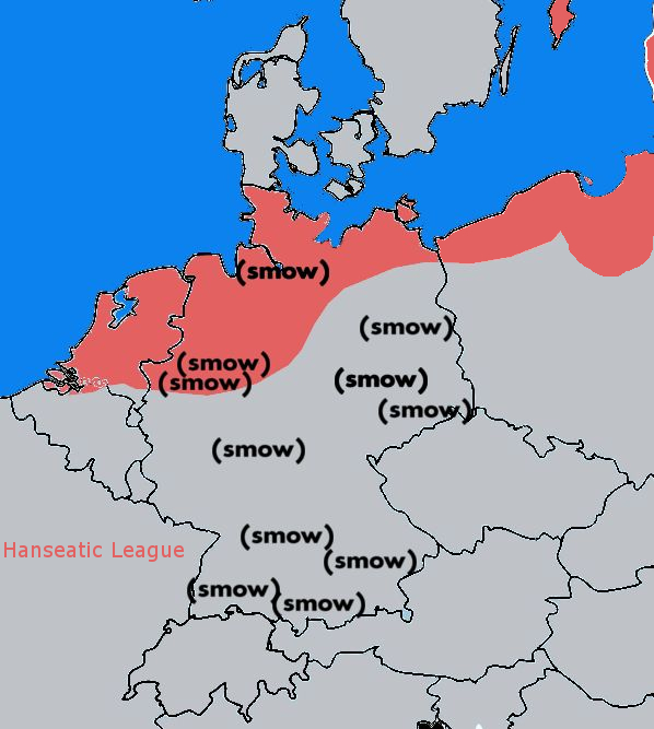 A comparison of the geographic distribution of the Hanseatic League and smow (Stand March 2018)