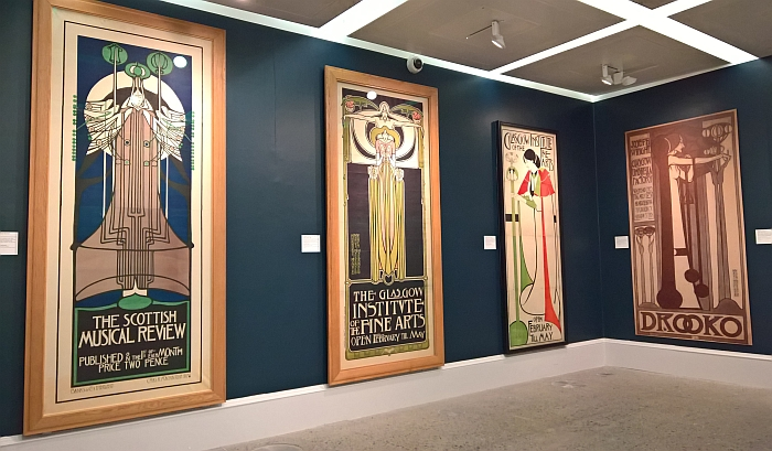 Late 19th century posters by Charles Rennie Mackintosh & Margaret Macdonald, as seen at Charles Rennie Mackintosh. Making the Glasgow Style, Kelvingrove Art Gallery and Museum, Glasgow