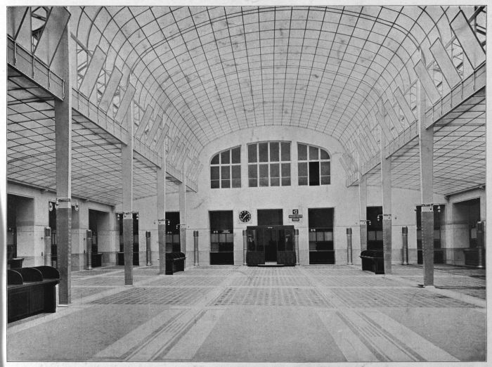 Banking Hall of the Imperial Royal Austrian Postal Savings Bank by Otto Wagner (From: Der Architekt 1907, photo © and courtesy MAK)