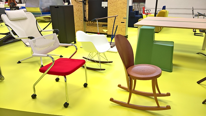 "A collection of ""Restless"" Vitra chairs, as seen at Vitra - Typecasting, Milan Design Week 2018"