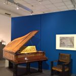 Salon grand piano and armchair from Behrns house in Darmstadt, both ca 1900, as seen at Peter Behrens. #all-rounder, the Museum für Angewandte Kunst Cologne