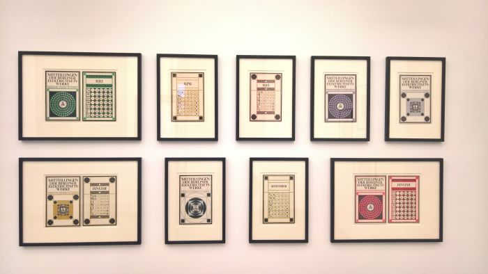 Examples of Peter Behrens' AEG Mitteilungen newsletter, as seen at Peter Behrens. The Practical and the Ideal, the Kaiser Wilhelm Museum Krefeld