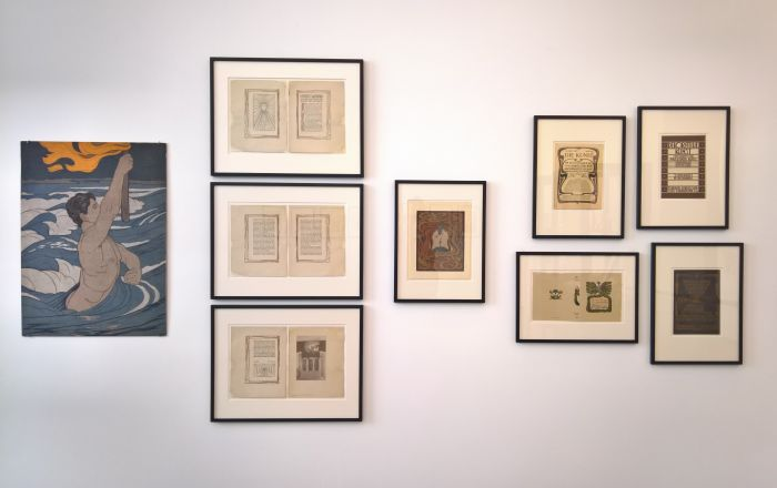 Examples of Peter Behrens' woodcut and book art work, as seen at Peter Behrens. The Practical and the Ideal, the Kaiser Wilhelm Museum Krefeld