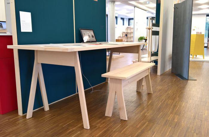 Trestle Table Bench by Werkstattmöbel, as seen at Finale 2018, Akademie für Gestaltung Münster
