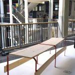 Bank der Tegernseer Gebräuche (2018) by Florian Knöbl, realised in context of MAGIS: Nomadic Cafe, as seen at Hochschule für Gestaltung Karlsruhe Rundgang 2018
