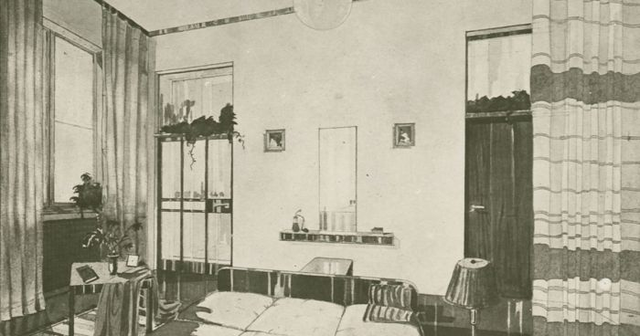 Antonin Urban, Perspective and wall elevations of the bedroom of a living unit, (Photo: Modernist Archive, Bauhaus University, Weimar, courtesy Garage Moscow)