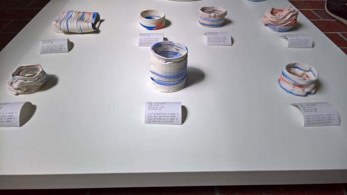 3D printed ceramic objects from the project ME_CHINE by Joana Schmitz & Laura Laipple, as seen at Rundgang 2018, Universität der Künste Berlin