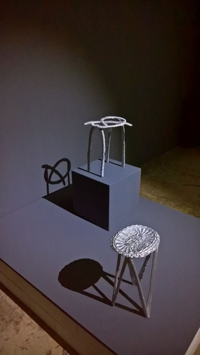 Stools produced by Studio Swine in context of their project Can City, as seen at New Urban Production, Halle 14, Leipzig