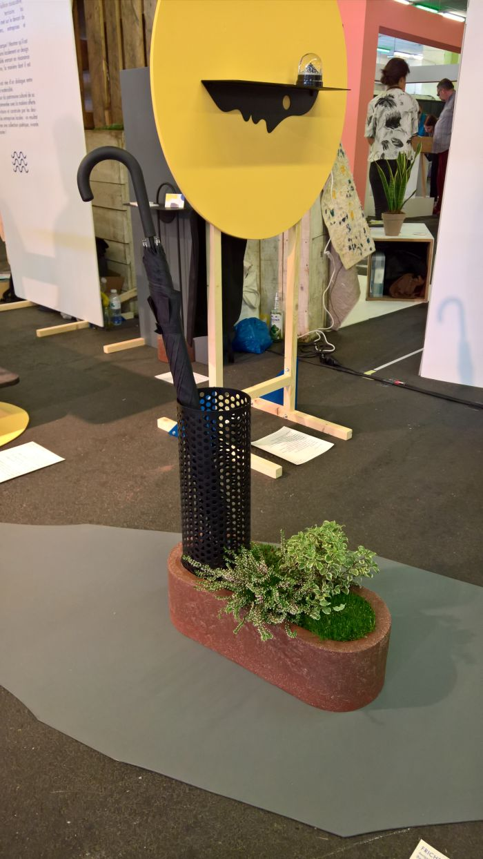 Friche au pied du ballot umbrella stand-flower box by Benjamin Helle through Aequo Edition, as seen at Paris Design Week 2018