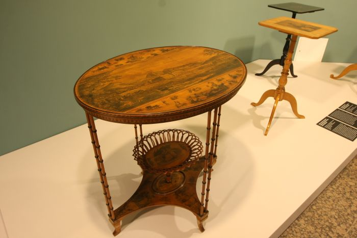 A table by Joseph Schneevogl with an impression of Tegernsee, as seen at Inside Out. Understanding the art of furniture making, the Kunstgewerbemuseum Berlin