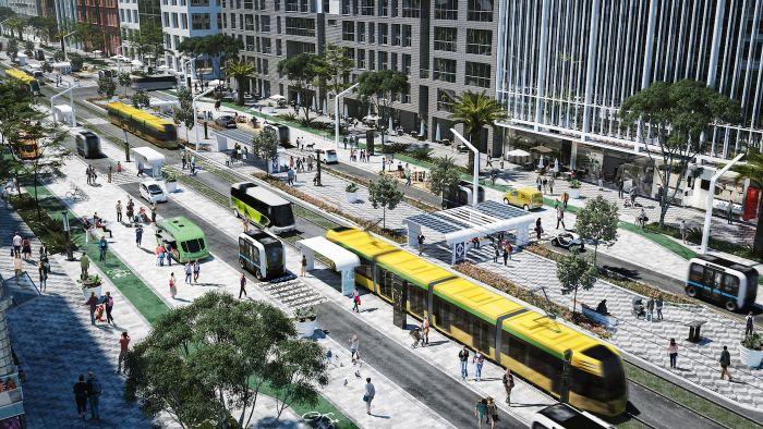 NACTO Blueprint for Autonomous Urbanism (Rendering © 2017 Bloomberg Philanthropies, courtesy Cooper Hewitt Smithsonian Design Museum New York)