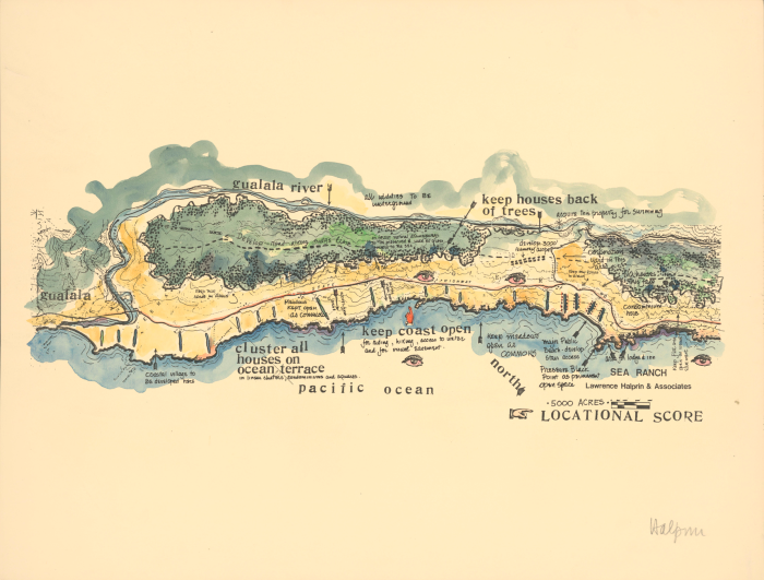 Sea Ranch Locational Score for The Sea Ranch by Lawrence Halprin ( © & courtesy of Lawrence Halprin Collection, The Architectural Archives, University of Pennsylvania.)