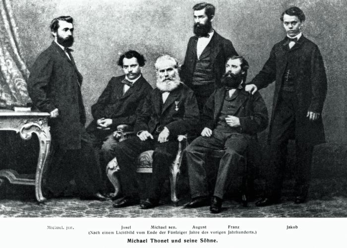 Michael thonet and his sons a.k.a Gebrüder Thonet (Photo late 1850s, courtesy Thonet)