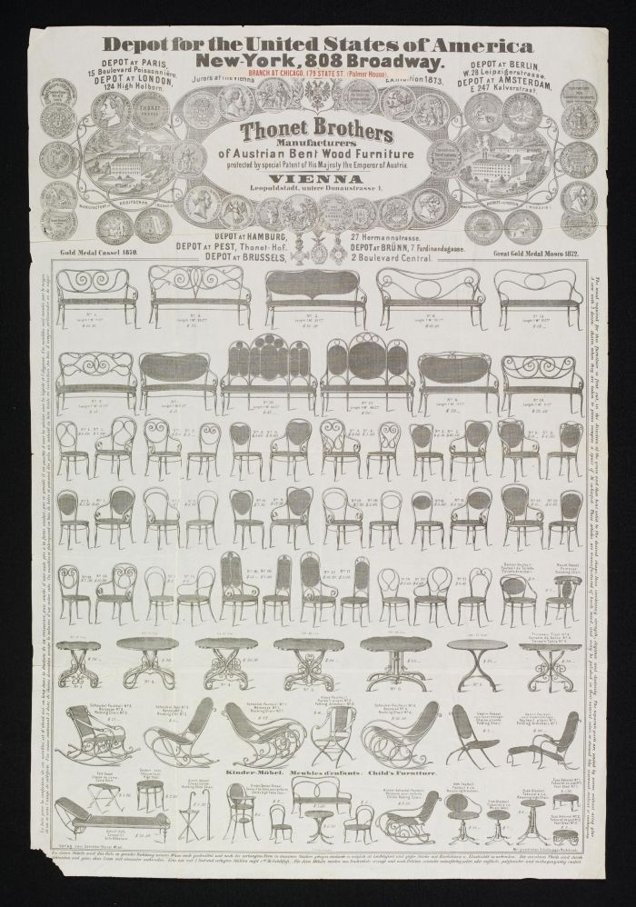 Thonet sales poster for their New York showroom, ca 1873 (photo © & courtesy Victoria and Albert Museum, London)