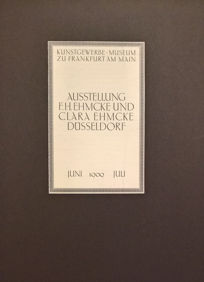 An exhibiton brochure by Fritz Helmuth Ehmcke (though apparently not Clara Ehmcke), as seen at Commercial Design instead of Applied Art?, the Werkbundarchiv – Museum der Dinge Berlin