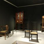 Works by Charles Rennie Mackintosh, save the chair on the left, that is by an artist unknown, as seen at From Arts and Crafts to the Bauhaus. Art and Design - A New Unity, The Bröhan Museum Berlin