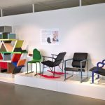 Works by Yrjö Kukkapuro, and Carlton by Ettore Sottsass, as seen at 1980s - A new era in furniture design, The Museum of Furniture Studies, Stockholm