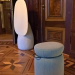 The new Johanson stool by Färg & Blanche, and flip-table, as seen at The Baker's House, Stockholm Design Week 2019