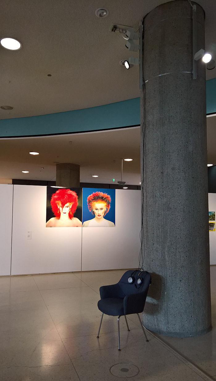 A listening station with Brian Eno's Discreet Music & Vidal Sassoon hair designs, as seen at Bauhaus Imaginista, Haus der Kulturen der Welt, Berlin