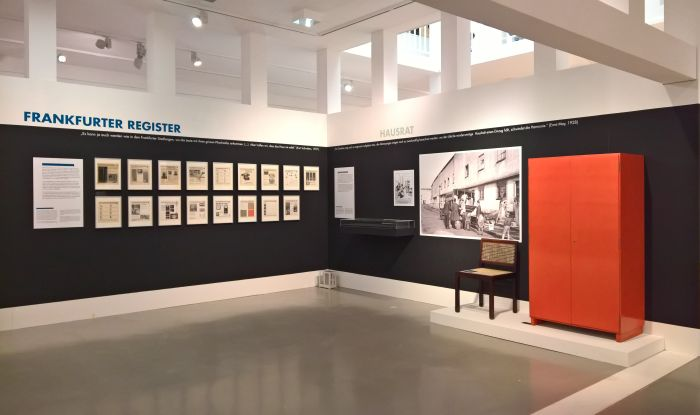 Frankfurter Register and examples of furniture designs by Franz Schuster, as seen at New Human, New Housing - Architecture of the New Frankfurt 1925–1933, the Deutsches Architekturmuseum Frankfurt