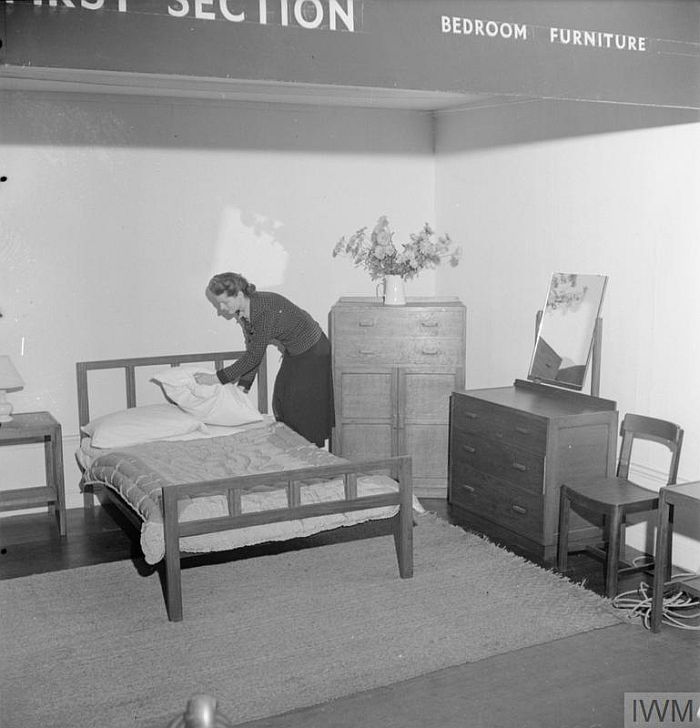 A Utility bedroom, part of a display of Utility furniture at the Building Centre, London in 1942 (Image © IWM (D 11051) )