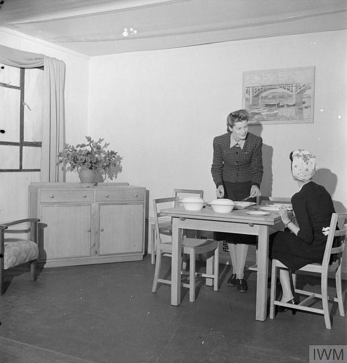 A bedroom set on display as part of an exhibition of Utility furniture at the Building Centre in London, 1942 (© IWM (D 11053) )