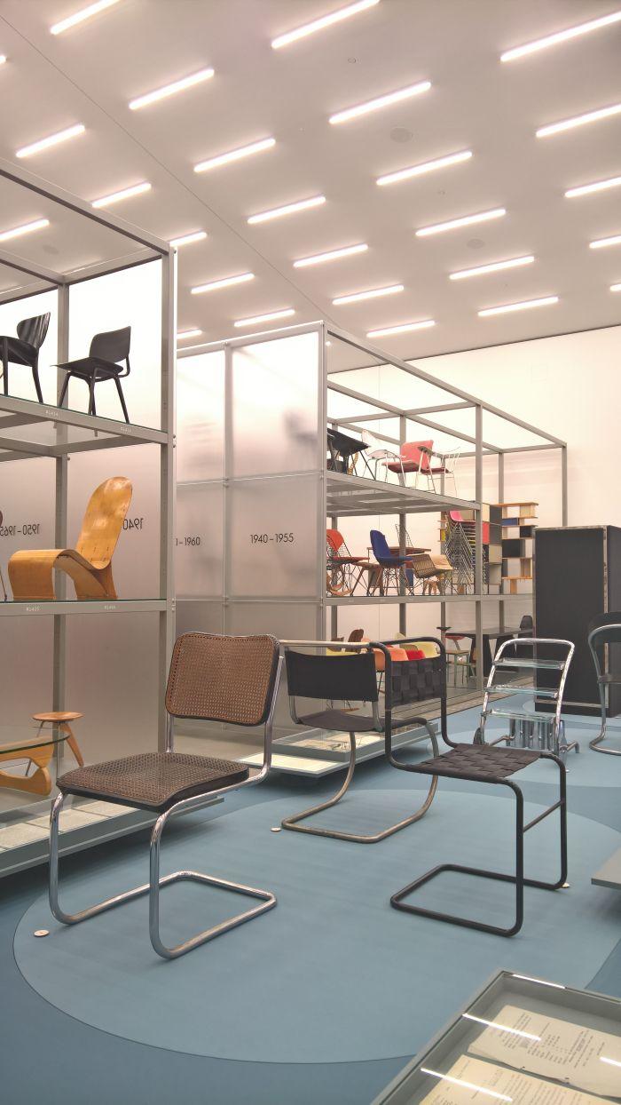 B 32 by Marcel Breuer (l), MR 10 by Mies van der Rohe, (m) W1 by Mart Stam (r), as seen at Anton Lorenz: From Avant-Garde to Industry, Vitra Design Museum Schaudepot, Weil am Rhein