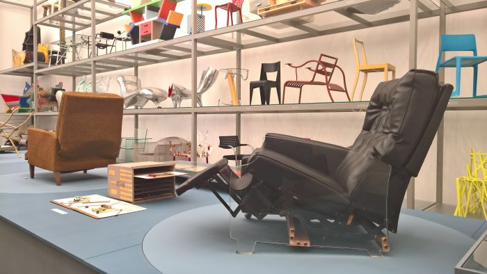 A display model of a Stratolounger 6100 by Anton Lorenz for Mohasco, as seen at Anton Lorenz: From Avant-Garde to Industry, Vitra Design Museum Schaudepot, Weil am Rhein